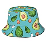 FAVIBES Sombrero de Pescador Sombrero Unisex de poliéster Reversible Sombrero de Sol Impreso Pescador Packable Sombrero de Viaje de Verano Moda Gorra al Aire Libre Multicolor Aguacate Estilo Kawaii