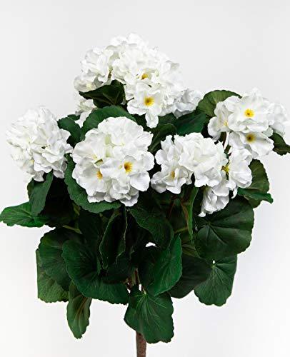 Geranie 38cm weiß -ohne Topf- ZF Kunstpflanzen künstliche Blumen Pflanzen Kunstblumen … (weiß)