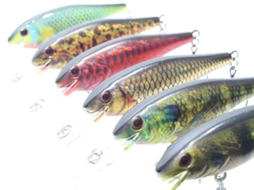 wLure Fishing Lure Minnow Crankbait for Bass Fishing Bass Lure (HC187KB, with Tackle Box)
