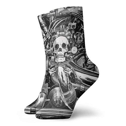 QUEMIN Calcetines cortos para adultos con motor de coche en blanco y negro,calcetines de algodón para gimnasio,30 cm de punto plano,calcetines deportivos casuales deportivos diarios