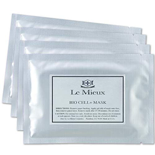 Le Mieux Bio Cell+ Mask - Marine Collagen & Peptide Brightening Serum Face Mask, Anti-Aging Facial with Hyaluronic Acid, No Parabens or Sulfates (4 Sheet Masks)