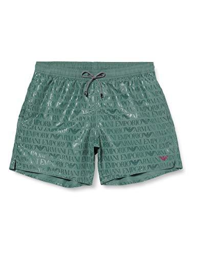 Emporio Armani Swimwear Herren Boxer Beachwear Allover Logo Badehose, Grün (Bamboo 05481), Small (Herstellergröße: 48)