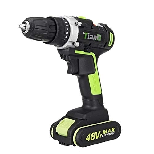 N / A Electric Drill Drivers with LED Light | 1 Battery | 15 + 1 Torque | 2 Speed Variable | Stepless Speed Switch Cordless Drill Set Impact Power Tool - 48V | UK