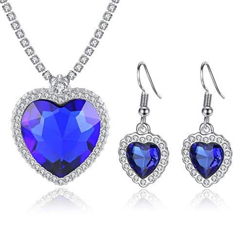 Yifnny Collar Corazón del Océano, Clásico Titanic Ocean Collar y Pendientes Conjunto de Joyas Colgante de Zafiro Collar de Corazón Azul para Mujeres Prom Titanic Joyería (Azul)