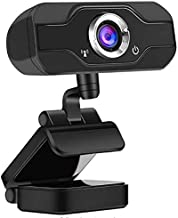 maxineer Webcam Full HD 1080P con Micrófono para PC, Streaming Cámara de la Computadora Portátil USB - Negr, Cámara Web para Video Chat y Grabación, Plug and Play, Giratorio de 360 Grados