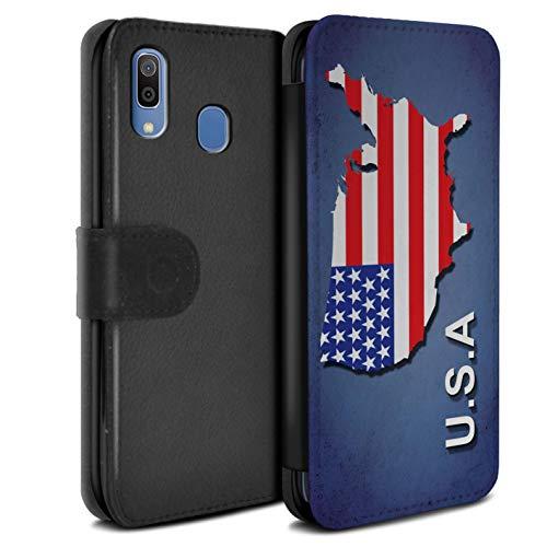 Hülle Für Samsung Galaxy A20e 2019 Flagge Land Amerika/Amerikaner/USA Design PU Leder Tasche Brieftasche Schutz Handyhülle Flip Case