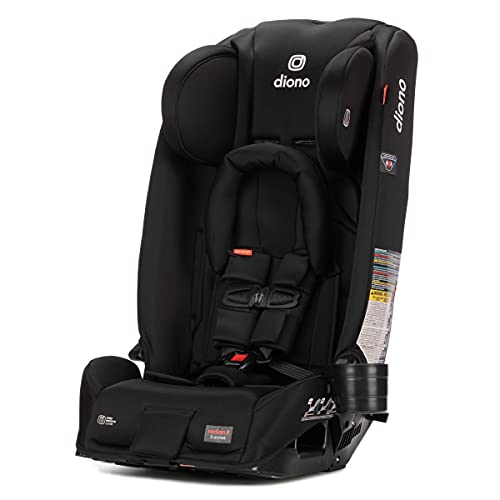 DiONO Radian 3RX 3-in-1 Rear and Forward Facing Convertible Car Seat, Head Support Infant Insert, 10 Years 1 Car Seat Ultimate Safety & Protection, Slim Design - Fits 3 Across, Black Jet