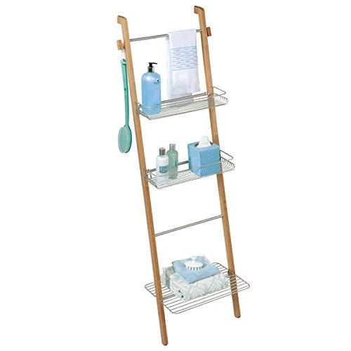 mDesign estantería Escalera para Ropa y Toallas de baño - Estante Madera con baldas de Almacenamiento y toallero Integrado - Color Plateado/marrón