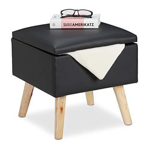 Relaxdays Sitzhocker mit Stauraum, aus Kunstleder, HxBxT: 40 x 40 x 40 cm, mit Deckel, Sitzwürfel gepolstert, schwarz, 1 Stück