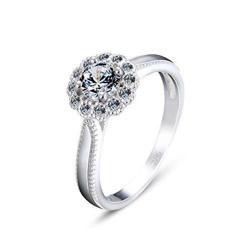 ChengBeautiful Anillo De Bodas 925 Anillos de Plata o de Compromiso de Diamante de la joyería Zirconia cúbico for la Mujer Regalo De Amor (Color : Silver, Size : 12)