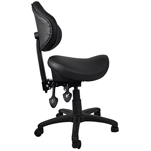 2xhome - Ergonomic Adjustable Rolling Saddle Stool Chair with Back Wheels Support for Clinic Hospital Pharmacy Medical Beauty Lab Exam Office Technician Physical Therapy Physician Dental