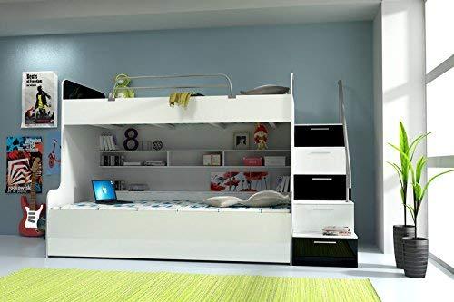 Doppelstockbett Bett Doppelbett Hochbett Jugendbett Betten Stockbett Etagenbett Hochglanz B003