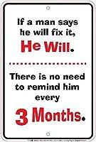 Man Will Fix 金属板ブリキ看板警告サイン注意サイン表示パネル情報サイン金属安全サイン