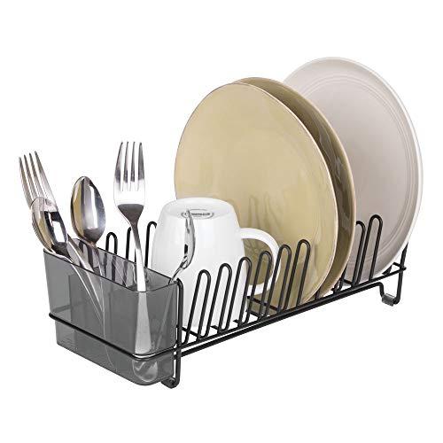 mDesign – Escurridor de platos de acero inoxidable – Escurreplatos de plástico con cubertero – Elegante escurrecubiertos para vajilla – Hasta 15 platos + cubiertos