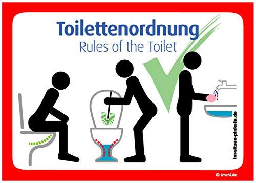 immi 4 St. Toilettenordnung (Rot), Sitzen pinkeln, Klobürste, Hände Waschen