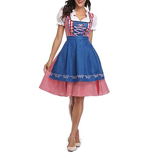 PDYLZWZY Disfraz de Oktoberfest para mujer, vestido tradicional bávaro, 3 piezas, azul, 26 W/32 L