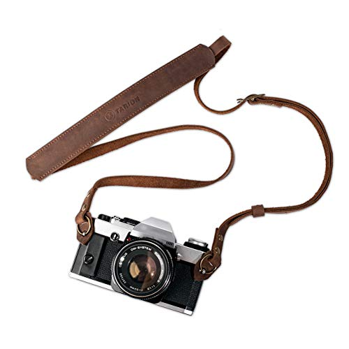 TARION Genuine Leather Camera Strap Vintage DSLR Camera Neck Strap Belt Film Camera Shoulder Strap Cord Long Rope Adjustable SLR Mirrorless Cameras Strap Brown TNS-L1