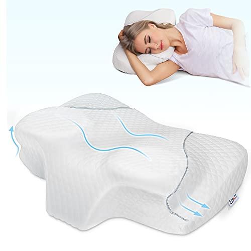 Essort Almohada Cervical, Almohada Viscoelastica, Ergonómica Almohada para Dormir de Lado , Almohada Ortopedica con Funda de Almohada Extraíble,Blanco,62 x 51 x 14cm