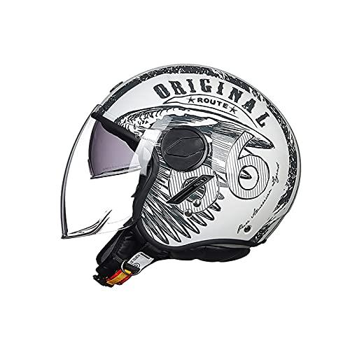 BOSERMEM Casco De Moto Jet Abierto Dot Homologado, Casco Moto De Scooter, Cabeza Anticolisión De Casco para Mujer Hombre Adultos con Visera(Blanca Ruta 66, M=54-56cm)