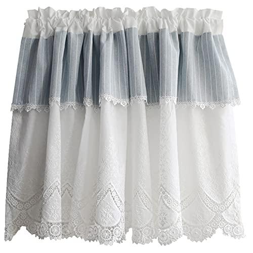 Cortinas blancas de media ventana, cenefas, bloqueo de luz, cortinas cortas con aislamiento térmico, diseño floral de algodón para gabinete de ventanas de la bahía de café, con bolsillo para varilla