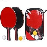 ZRK Batte de ping-Pong avec étui Raquette de Professionnelle Easy Room 5 Plis en Bois Ping-Pong en Carbone à 2 épaisseurs Raquette en Caoutchouc Paddle Rubber Poignée Confortable 2 bâtons et 3 balles