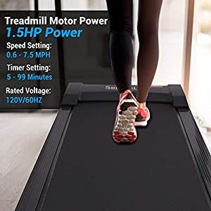 SereneLife Smart Electric Folding Treadmill, Easy Assembly Fitness Motorized Running Jogging Exercise Machine with Manual Incline Adjustment, 12 Preset Programs, Black | SLFTRD30 Model