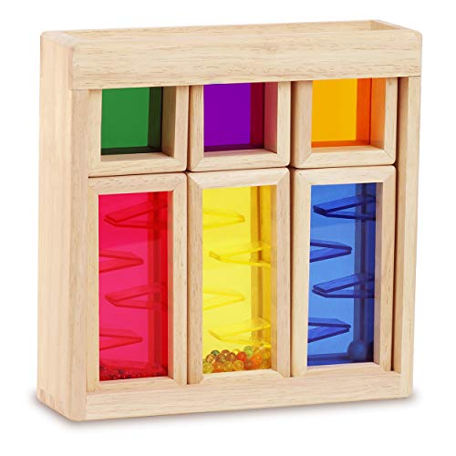 Top Right Toys Color Mixing and Stacking Building Blocks Colors, Shapes and Sounds Rainbow Preschool Learning Wooden Construction Maze Toys Educational Fun for Toddler Kids Girls and Boys, 7 Piece Set