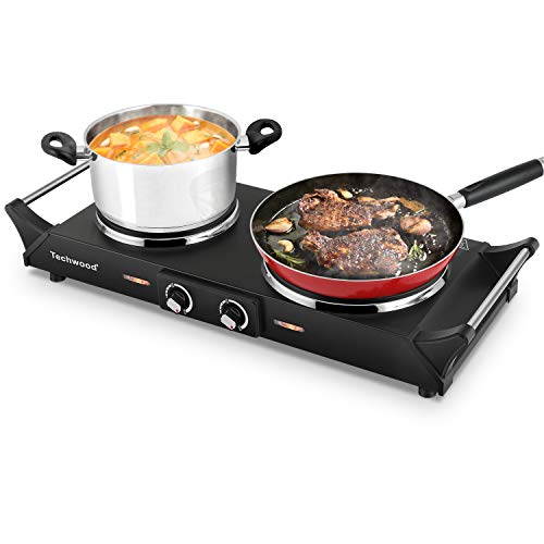 Techwood Hot Plate Electric Single Burner 1800W Portable Burner for Cooking with Adjustable Temperature & Stay Cool Handles, Non-Slip Rubber Feet, Black Stainless Steel Easy To Clean, Compatible for All Cookwares ES-3203