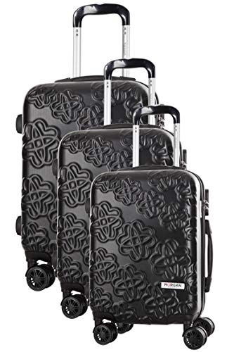 Juego de 3 maletas de 8 ruedas S/M/L, color negro Pepino