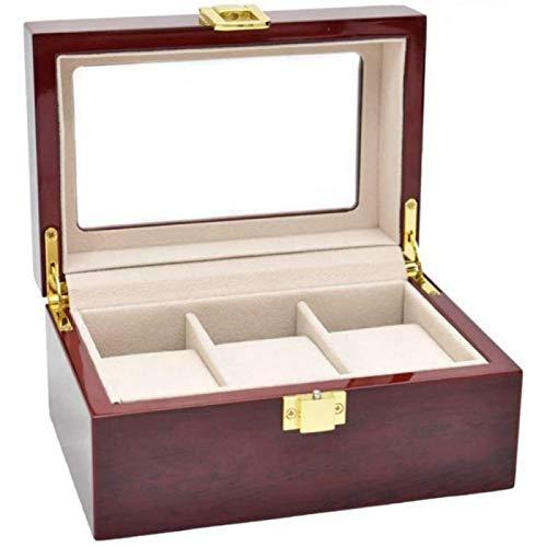 ANZRY Caja de Almacenamiento de Relojes Caja de Presentación de 3 Ranuras Cumpleaños Caja de Reloj de Boda de San Valentín con Tapa de Vidrio Almacenamiento de Reloj de Madera Maciza