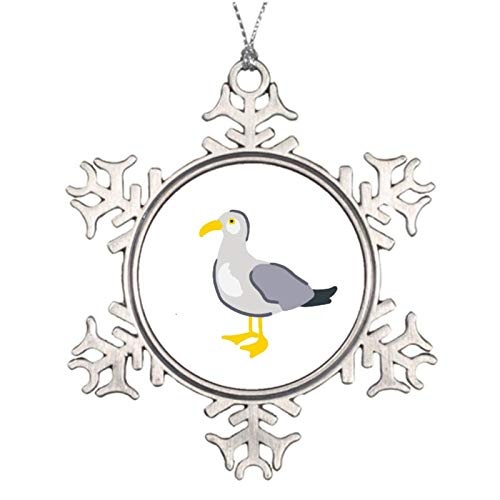 qidushop Christmas Ornaments Holiday Metal Ornament English Seaside Seagull Snowflake Ornament Crafts Christmas Tree Decoration