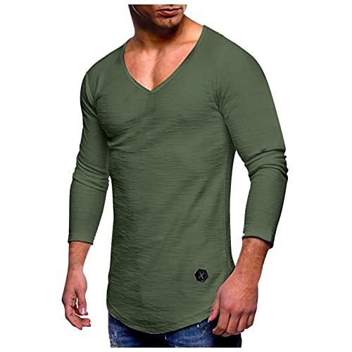 heavKin Men's Casual Long Sleeve T-Shirts V-Neck Gym Muscle Shirt Slim Fit Raglan Running Hipster Shirts Green