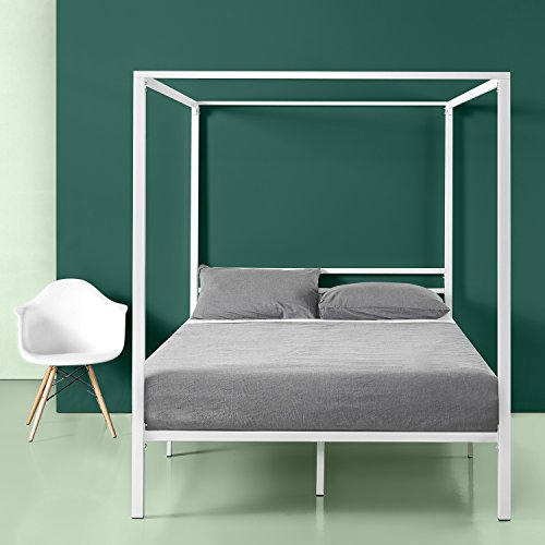 Zinus Patricia White Metal Framed Canopy Four Poster Platform Bed Frame / Strong Steel Mattress Support / No Box Spring Needed, Full