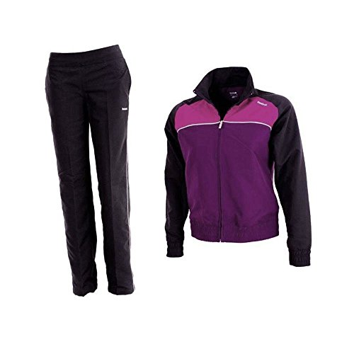Reebok Damen Trainingsanzug Core Woven Regular Fit Lila Schwarz Größe S Gr. 36, violett / schwarz