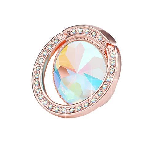 lenoup Glitter Bling Bling Phone Ring Holder,Sparkle Phone Ring Grip Artificial Diamond Stand,Rhinestone Cell Finger Ring for Phones,Pad(Rose Gold)