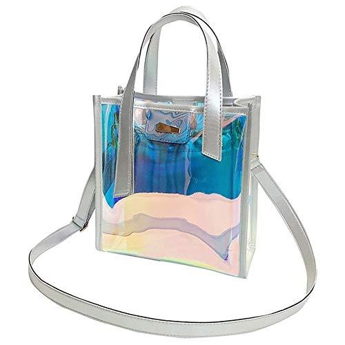 Lahiue Frauen Kristalline Bag Shopper Hologram PVC Kupplungen Perlenweben & Schmuckherstellung Schmuckperlen (Farbe : Silver)