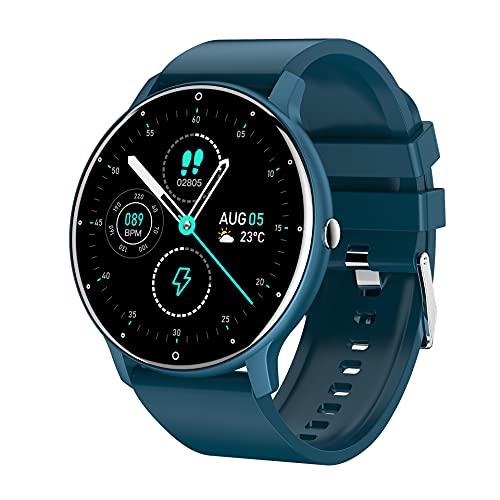 Reloj Inteligente con Pulsómetro,Cronómetros,Calorías,Monitor de Sueño,Podómetro Monitores de Actividad Impermeable IP67 Smartwatch Hombre Reloj Deportivo para Reloj Inteligente ZL02 Azul