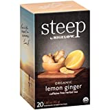 steep by Bigelow Organic Lemon Ginger Caffeine-Free Herbal Tea, 20 Count (Pack of 6), 120 Tea Bags Total