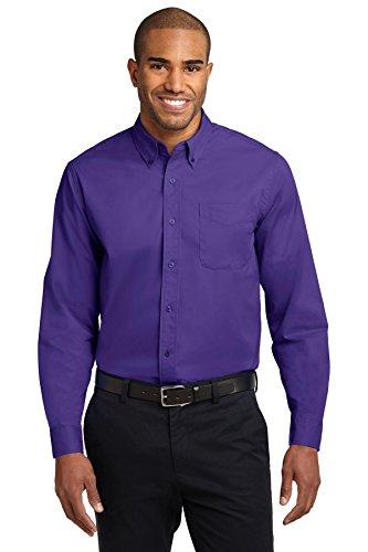 Port Authority Men's Long Sleeve Easy Care L Purple/Light Stone