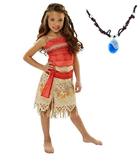 La Señorita Vaiana Kleid Moana Prinzessin Kinder Kostüm Verkleidung + Gratis Vaiana Kette (Größe 7-8 Jahre - 128-134 (140))