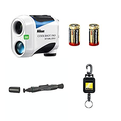 Nikon Coolshot Pro Stabilized Golf Rangefinder with 2 Spare Batteries Lens Pen & Retractable Rangefinder Tether Bundle from Nikon