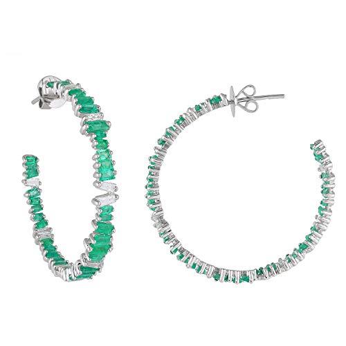 Pendientes de aro de oro blanco de 18 quilates con diamantes naturales de 1,60 quilates (Hicolor, Vs2 Si1Clarity) y forma de baguette esmeralda real de 5,85 quilates para mujer