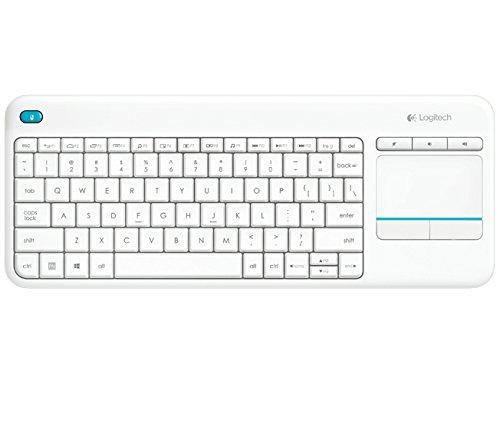 Logitech K400 Plus Kabellose TV-Tastatur mit Touchpad, 2.4 GHz Verbindung via Unifying USB-Empfänger, Programmierbare Multimedia-Tasten, Windows/Android/ChromeOS, Türkisches-Layout - weiß