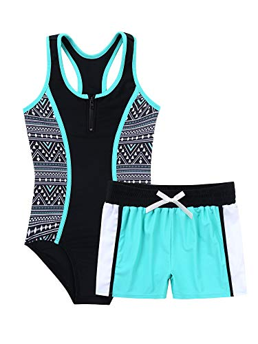 TTAO Mädchen Kinder Badeanzug Bikini Sommer Schwimmanzug Ärmelloser Bademode mit Reißverschluss + Badeshorts Swimsuit Gr.98-176 A Mint Green 146-152