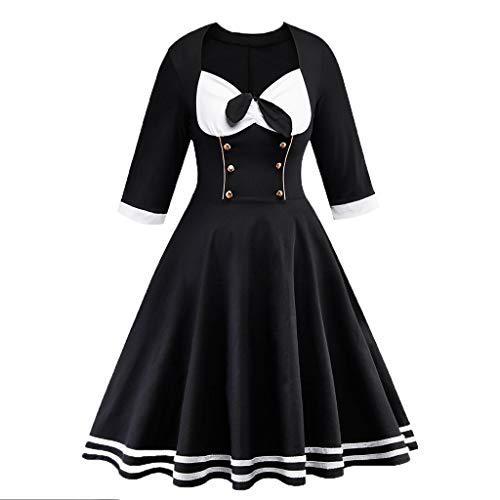 Vestido de cóctel con Estampado Vintage de Primavera Vintage Country Rock para Mujer A-Line Vestido sin Mangas hasta la Rodilla (Negro, XXXL)