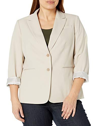 Tahari ASL Women's 2 Button Roll Sleeve Jacket Blazer, Tan, 22W US