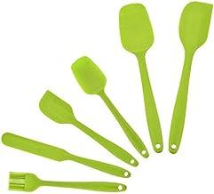 مجموعات أدوات الطبخ - مجموعة ملعقة مسطحة من السيليكون اليدوي المقاومة للحرارة، مجموعة أواني المطبخ للطهي والخبز والخلط (أخضر)