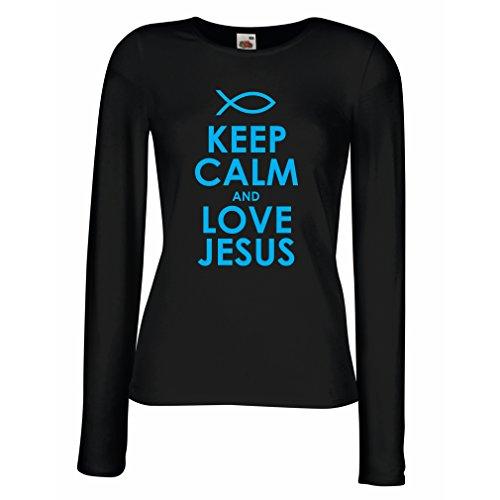 Weibliche Langen Ärmeln T-Shirt Liebe Jesus Christus, christliche Religion - Ostern, Auferstehung, Geburt Christi, religiöse Geschenkideen (XX-Large Schwarz Blau)