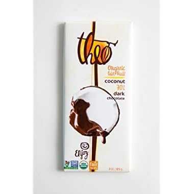 Theo Classics Dark Chocolate with Toasted Coconut, 3-Ounce (Pack of 6)