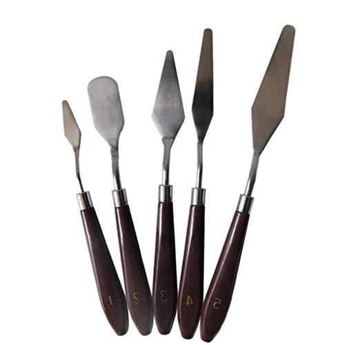 Lorsoul 5PCS / Set Pintura Paleta de espátula de Madera de Acero Inoxidable Kit identificador de Paleta de Mezcla de Pintura Herramienta